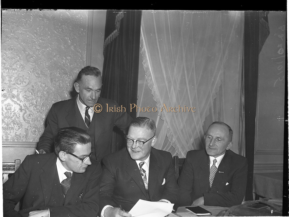 12/11/1959<br /> 11/12/1959<br /> 12 November 1959<br /> Formation of Dublin Branch of West Cork Development Association at Jury's Hotel, Dublin. Mr Michael Boland (centre seated) Skibereen, Chairman of the Association, chatting to L.M. Collins, Clonakilty (left); Mr W. O'Donovan, Bantry (right) and Mr J.G. Hurley, Bantry at rear.