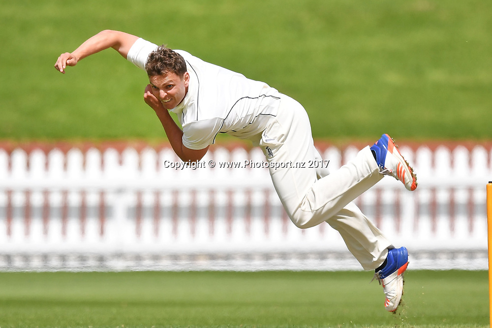 Aces Michael Barry bowls during the Wellington Firebirds vs Auckland Aces Plunket Shield cricket match at the Basin Reserve in Wellington on Monday the 23 October 2017. Copyright Photo by Marty Melville / www.Photosport.nz
