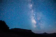 The Milky Way over the desert, at Fisher Towers campground near Moab, Utah.