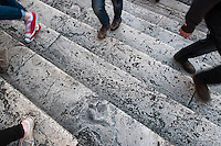 People Walking The Spanish Steps, Rome, Italy