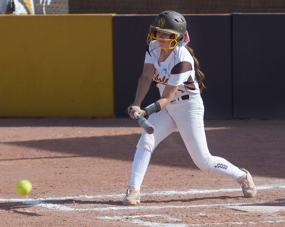 gbs040617x/SPORTS -- Cibola's Leah Marquez hits a single in the second inning of the game against Volcano Vista on Thursday, April 6, 2017. (Greg Sorber/Albuquerque Journal)