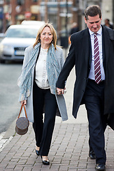 © Licensed to London News Pictures. 13/11/2017. Wakefield UK. Denise Courtney sister of Ann Maguire at Wakefield Coroners Court today. The inquest into the death of Leeds teacher Ann Maguire is starting today at Wakefield Coroners Court. Mrs Maguire, a 61 year old Spanish teacher, was stabbed to death by Will Cornick at Corpus Christi Catholic College in Leeds in April 2014. The school pupil, who was 15 at the time, admitted murdering Mrs Maguire and was given a life sentence later that year. Since then, some of Mrs Maguire's family have campaigned for further investigation into her death as they believe more could have been done to prevent the tragedy. Photo credit: Andrew McCaren/LNP