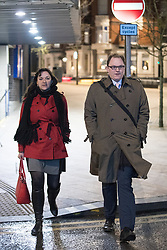 © Licensed to London News Pictures . 16/02/2017. Stoke-on-Trent, UK.  RUTH SMEETH and GARETH SNELL arrive at the BBC . Candidates for the seat of Stoke-on-Trent central , including Jack Brereton for the Conservative Party, UKIP's Paul Nuttall , Zulfiqar Ali for the Lib Dems , Labour's Gareth Snell and Adam Colclough for the Green Party arrive at BBC Stoke for a live radio debate . The by-election in the constituency of Stoke-on-Trent Central . Photo credit: Joel Goodman/LNP