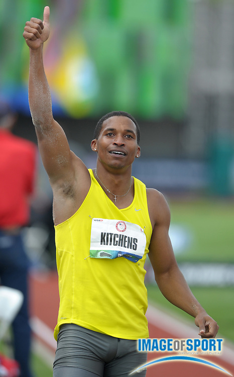 Jun 25, 2012; Eugene, OR, USA; George Kitchens celebrates after placing third in the long jump at 26-11 1/4 (8.12m) in the 2012 U.S. Olympic Team Trials at Hayward Field. Mandatory Credit: Kirby Lee/Image of Sport-US PRESSWIRE