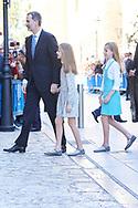 Princess Sofia, Crown Princess Leonor, King Felipe VI of Spain attend Easter Mass at the Cathedral of Palma de Mallorca on April 1, 2018 in Palma de Mallorca, Spain