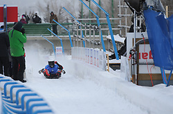 February 23, 2019 - Calgary, Alberta, Canada - Forerunner finishes his ride down the truck before the second heats of BMW IBSF SKELETON WORLD CUP Calgary Canada 23.02.2019 (Credit Image: © Russian Look via ZUMA Wire)
