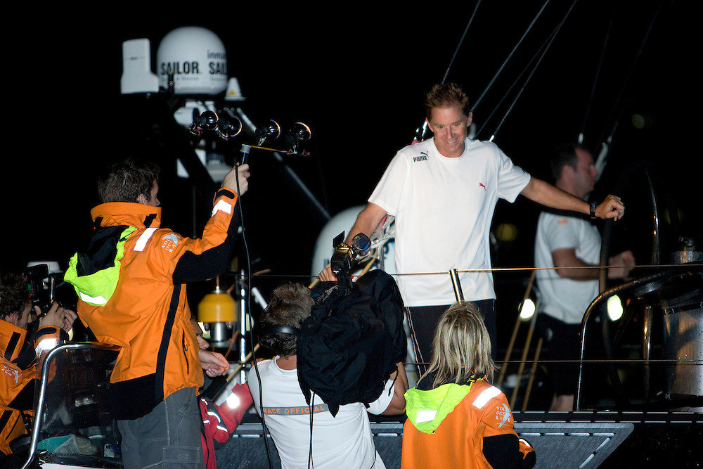 27MAR09 Skipper Ken Read talks the media as PUMA Ocean Racing finish in Rio de Janeiro for the finish of Leg 5 of the Volvo Ocean Race 2008-09, crossing the line at 04:27:00GMT (01:27:00 local), to finish in third place