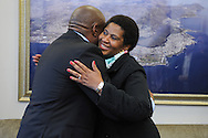 CAPE TOWN, SOUTH AFRICA - Friday 22 August 2014, Dr Phumzile Mlambo-Ngcuka, Under-Secretary-General and Executive Director of UN (United Nations) Women from New York and former South African Deputy President, greets new national soccer coach, Ephraim &quot;Shakes&quot; Mashaba in an impromptu meeting during the announcement that the City of Cape Town will join the United Nations Women Safe Cities Global Initiative designed to assist local authorities in making cities safer for women and girls. Cape Town is the first city in southern Africa to join the UN Women Safe Cities Global Initiative, and looks forward to learning from and sharing its experiences with other international cities and African counterparts in Kigali and Nairobi.<br /> Photo by Roger Sedres/ImageSA