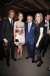 Left to right, BRUCE HOEKSEMA Creative Director of Asprey, ROSAMUND PIKE and JOHN & DARCY RIGAS at the BAFTA Nominees party 2011 held at Asprey, 167 New Bond Street, London on 12th February 2011.