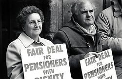 Pensioners protest, Derby, UK April 1989