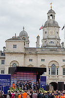 Team Sky are interviewed before they start the Prudential RideLondon-Surrey Classic at Horse Guards Parade 30/07/2017<br /> <br /> Photo: Jon Buckle/Silverhub for Prudential RideLondon<br /> <br /> Prudential RideLondon is the world's greatest festival of cycling, involving 100,000+ cyclists – from Olympic champions to a free family fun ride - riding in events over closed roads in London and Surrey over the weekend of 28th to 30th July 2017. <br /> <br /> See www.PrudentialRideLondon.co.uk for more.<br /> <br /> For further information: media@londonmarathonevents.co.uk