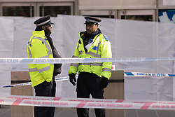 © Licensed to London News Pictures. 21/03/2018. London, UK. The police cordon at the scene outside the shopping centre, the Stratford Centre in east London today, where a murder investigation has been launched after a man, believed to be in his early 20's was fatally stabbed last night. Photo credit: Vickie Flores/LNP