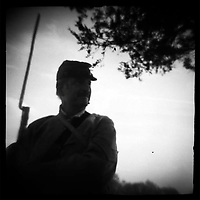 """Confederate sentry stands post at Perryville Battle reenactment, 2002. dnads """"Charge to Battle"""""""