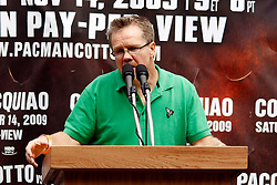 September 10, 2009; Bronx, NY; USA; Freddie Roach speaks at the press conference at Yankee Stadium for the November 14, 2009 fight between Manny Pacquiao and Miguel Cotto.  The two will meet at the MGM Grand Garden Arena in Las Vegas, NV.
