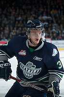 KELOWNA, CANADA - APRIL 5: Russell Maxwell #37 of the Seattle Thunderbirds skates against the Kelowna Rockets on April 5, 2014 during Game 2 of the second round of WHL Playoffs at Prospera Place in Kelowna, British Columbia, Canada.   (Photo by Marissa Baecker/Getty Images)  *** Local Caption *** Russell Maxwell;