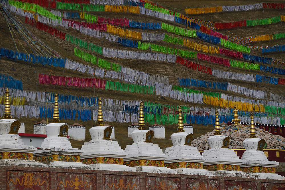 Gompas at Lama Buddhist temple in Wenquan town, Tibetan Plateau, Qinghai, China