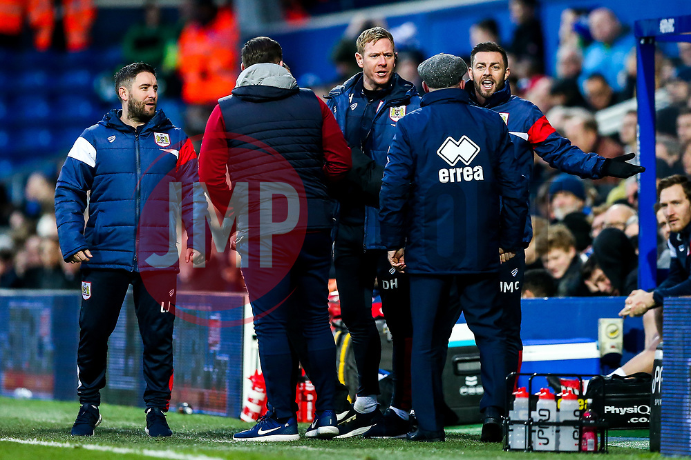 Bristol City Assistant Head Coaches Dean Holden and Jamie McAllister are approached by Queens Park Rangers manager Ian Holloway - Rogan/JMP - 23/12/2017 - Loftus Road - London, England - Queens Park Rangers v Bristol City - Sky Bet Championship.