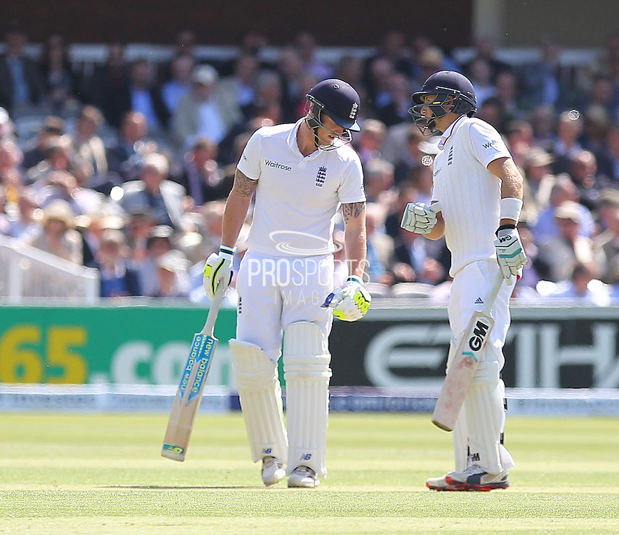 England Ben Stokes and England Joe Root during the first day of the Investec 1st Test  match between England and New Zealand at Lord's Cricket Ground, St John's Wood, United Kingdom on 21 May 2015. Photo by Ellie  Hoad.