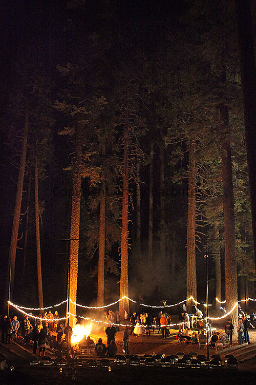 Northern California outdoor wedding reception at Pinecrest Chalet in the Sierra Nevada Mountains. Wedding reception in forest.