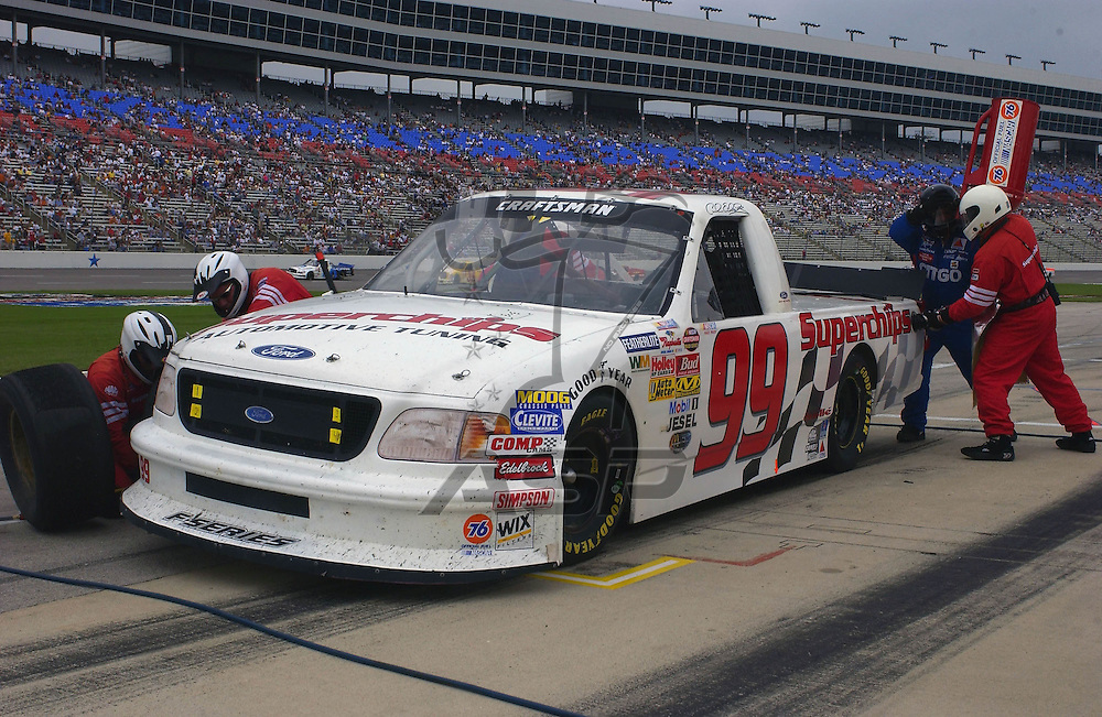 Carl Edwards and the No. 99 Superchips Ford F-150 at the Texas Motor Speedway in Denton, TX.