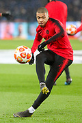 Kylian Mbappe of Paris Saint-Germain warm up shot during the Champions League Round of 16 2nd leg match between Paris Saint-Germain and Manchester United at Parc des Princes, Paris, France on 6 March 2019.