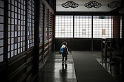 KYOTO, JAPAN - Nijojo - A child alone in the large coridor of Nijojo (castle) -March 2011 [FR] Un enfant seul dans les larges couloirs du chateau medieval Nijo jo a Kyoto