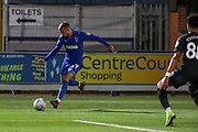 AFC Wimbledon attacker Shane McLoughlin (19) crossing the ball during the EFL Trophy (Leasing.com) match between AFC Wimbledon and U23 Brighton and Hove Albion at the Cherry Red Records Stadium, Kingston, England on 3 September 2019.