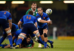 Frederic Michalak of France passes the ball back - Mandatory byline: Patrick Khachfe/JMP - 07966 386802 - 11/10/2015 - RUGBY UNION - Millennium Stadium - Cardiff, Wales - France v Ireland - Rugby World Cup 2015 Pool D.