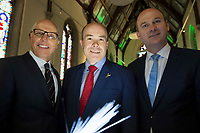 07/09/2017 David C. McCourt, founder of Granahan McCourt Capital and Chairman of enet  and Stephen Wheeler, MD SSE Ireland with Minister Denis Naughten (centre) who announced a joint venture between enet and SSE which will roll-out superfast broadband to 115,000 premises in regional Ireland in Ballinasloe, Co. Galway.<br />  Photo:Andrew Downes, xposure