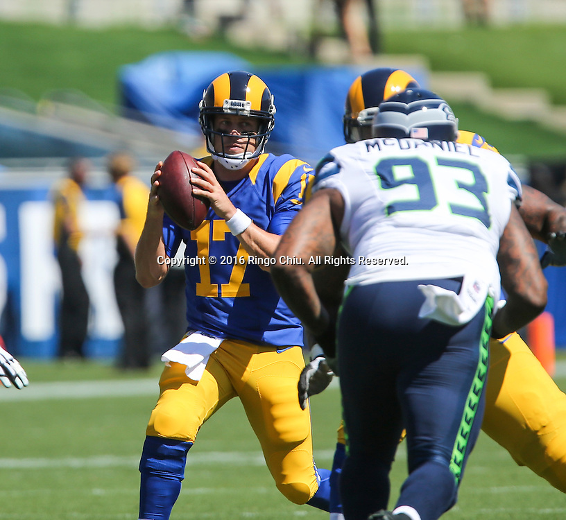 Los Angeles Rams quarter back Case Keenum (17) plays against Seattle Seahawks during a NFL football game, Sunday, Sept. 18, 2016, in Los Angeles. The Rams won 9-3. (Photo by Ringo Chiu/PHOTOFORMULA.com)<br /> <br /> Usage Notes: This content is intended for editorial use only. For other uses, additional clearances may be required.