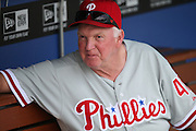 LOS ANGELES, CA - JUNE 30:  Charlie Manuel #41 manager of the Philadelphia Phillies looks on from the dugout before the game against the Los Angeles Dodgers on Sunday, June 30, 2013 at Dodger Stadium in Los Angeles, California. The Dodgers won the game 6-1. (Photo by Paul Spinelli/MLB Photos via Getty Images) *** Local Caption *** Charlie Manuel