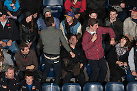 KELOWNA, CANADA - NOVEMBER 9:  Fans dance to the music as the Red Deer Rebels visit the Kelowna Rockets on November 9, 2012 at Prospera Place in Kelowna, British Columbia, Canada (Photo by Marissa Baecker/Shoot the Breeze) *** Local Caption ***