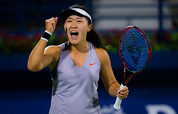 February 18, 2019 - Dubai, ARAB EMIRATES - Lin Zhu of China in action during her first round match at the 2019 Dubai Duty Free Tennis Championships WTA Premier 5 tennis tournament (Credit Image: © AFP7 via ZUMA Wire)