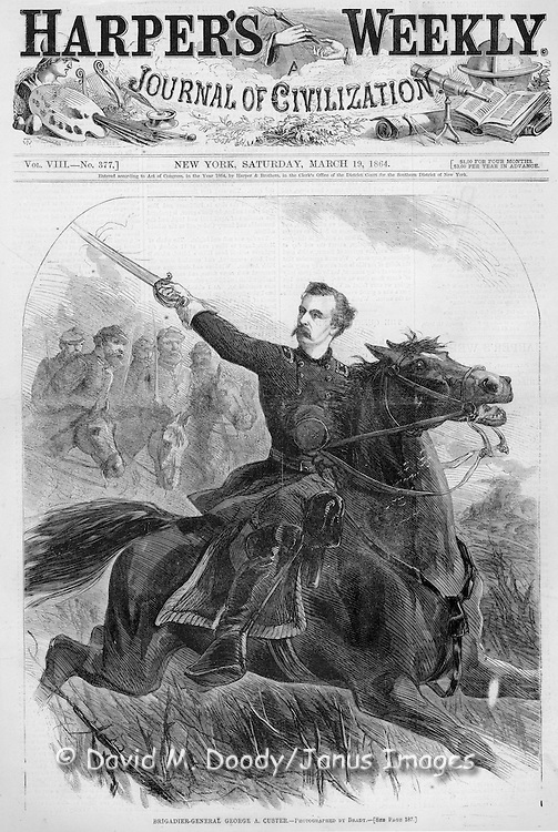 Civil War:  General George Custer on horseback, Virginia  Illustration from Harper's Weekly March 19, 1864 Cover