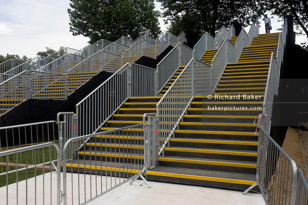 Stairs seen before spectators leave Equestrian events at the old Royal Naval College, Greenwich on day 4 of the London 2012 Olympic Games. The final bill for the 2012 Olympics could be ten times higher than the original estimate, according to an investigation. The predicted cost of the games when London won the bid in 2005 was £2.37billion. That figure has now spiralled to more than £12billion and could reach as much as £24billion, the Sky Sports investigation claims. The Olympics public sector funding package, which covers the building of the venues, security and policing, was upped to around £9.3bn in 2007. ..