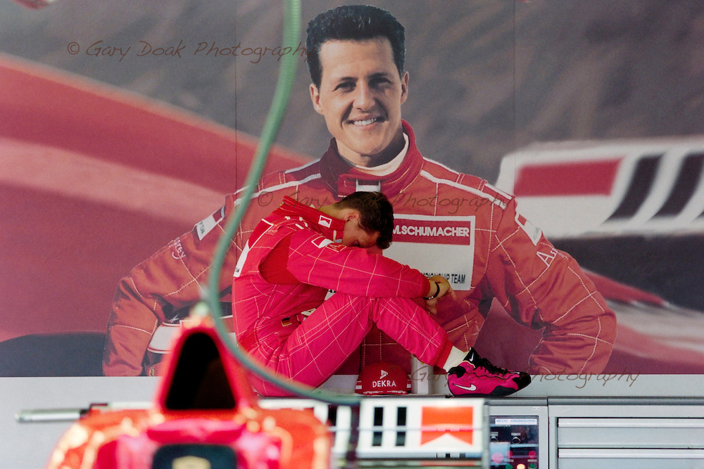 Michael Schumacher composes himself before qualifying for the British Grand Prix in 1996.