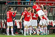 ALKMAAR - 27-08-15, Europa League,  2e voorronde,  AZ  - Astra GiurGiu, AFAS Stadion, AZ speler Jop van der Linden heeft de 1-0 gescoord.