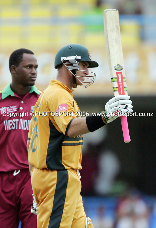 Australian opening batsman Matthew Hayden acknowledges the fans as Marlon Samuels looks on after scoring his century during the Super 8 Cricket World Cup match, West Indies vs Australia at the Sir Vivian Richards Cricket Ground in Antigua, West Indies on Tuesday 27 March 2007. Photo: Andrew Cornaga/PHOTOSPORT<br /><br /><br />270307