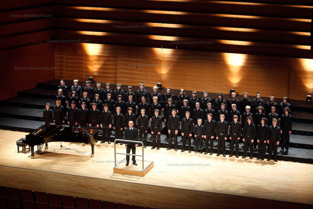 The NYCoS  Changed Voices Choir (black shirts) , Horsecross, Perth, April 2009. Conducted by Christopher Bell ( Artistic Director and Conductor)..3rd April 2009...© Drew Farrell    Tel :  07721-735041.If you require any more information please contact Ruth Townsend @The National Youth Choir of Scotland Tel : 0141 287 2856.Note to Editors:  This image is free to be used editorially in the promotion of The National Youth Choir of Scotland. Without prejudice ALL other licences without prior consent will be deemed a breach of copyright under the 1988. Copyright Design and Patents Act  and will be subject to payment or legal action, where appropriate.....