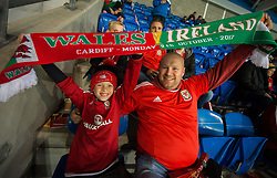 CARDIFF, WALES - Monday, October 9, 2017: Wales fans enjoying the atmosphere before the 2018 FIFA World Cup Qualifying Group D match between Wales and Republic of Ireland at the Cardiff City Stadium. (Pic by Peter Powell/Propaganda)