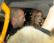 12.OCTOBER.2011. LONDON<br /> <br /> JASON STATHAM AND ROSIE HUNTINGTON-WHITELEY LEAVE NOBU BERKELEY STREET RESTAURANT IN MAYFAIR BEFORE HEADING TO SOHO HOUSE IN SOHO UNTIL 2AM.<br /> <br /> BYLINE: EDBIMAGEARCHIVE.COM<br /> <br /> *THIS IMAGE IS STRICTLY FOR UK NEWSPAPERS AND MAGAZINES ONLY*<br /> *FOR WORLD WIDE SALES AND WEB USE PLEASE CONTACT EDBIMAGEARCHIVE - 0208 954 5968*