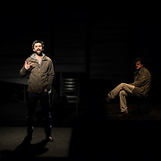 February 10, 2016 - New York, NY : From left, Michael Crane and Michael Cumpsty perform in a dress rehearsal for the Primary Stages production of Dan O'Brien's 'The Body of an American' at the Cherry Lane Theatre in Manhattan on Wednesday afternoon.  CREDIT: Karsten Moran for The New York Times