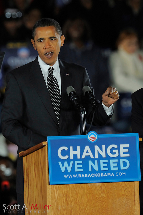 Oct 29, 2008; Kissimmee, Florida: Democratic presidential hopeful Barack Obama, speaks at a rally with former President Bill Clinton at Osceola Heritage Park in Kissimmee, Florida...© 2008 Scott A. Miller