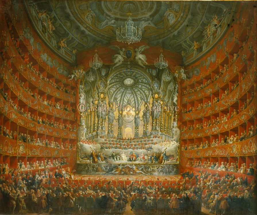 Musical fete given by Cardinal de la Rochefoucauld in the Theatre Argentina, Rome, 15 July 1747, on the occasion of the marriage of Louis, Dauphin of France, son of Louis XV, to Marie Joseph of Saxony.   Giovanni Paolo Pannini (1691-1765) Italian painter.