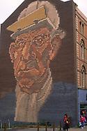 Brick mural of a steelworker Sheffield