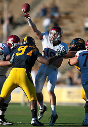 October 24, 2009; Berkeley, CA, USA;  Washington State Cougars quarterback Jeff Tuel (10) throws a pas over California Golden Bears defensive tackle Cameron Jordan (97) during the fourth quarter at Memorial Stadium.  California won 49-17.
