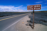 Sign marking the 1982 lava flow in the Kilauea Caldera, Hawaii Volcanoes National Park, The Big Island, Hawaii
