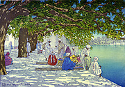 Silk Merchants - India', c1920. Charles WIlliam Bartlett (1860-1940) English painter and printmaker. Figures in dappled shade of mature trees on terrace beside blue lake, pile of silks being traded, centre.