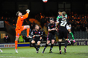 Carlisle Utd goalkeeper Mark Gillespie punches the ball  during the The FA Cup Third Round Replay match between Yeovil Town and Carlisle United at Huish Park, Yeovil, England on 19 January 2016. Photo by Graham Hunt.