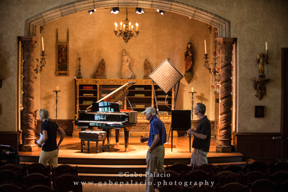 The [Music] Room installation by Francisco L&oacute;pez at opening for In the Garden of Sonic Delights  in the Rosen House at Caramoor in Katonah New York on June 7, 2014. <br /> (photo by Gabe Palacio)